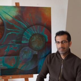 Udstilling med abstrakt kunst
