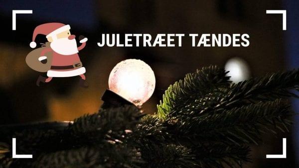 Julemanden tænder juletræet