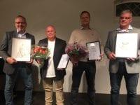Fra højre er det vicedirektør og leder for genbrug og udvikling Allan Johansen, genbrugsmedarbejder og praktikkoordinator Morten Rasmussen begge fra AffaldPlus, tillidsrepræsentant Bjørn Lütjens og regionschef Michael Nordland, begge fra Remondis.